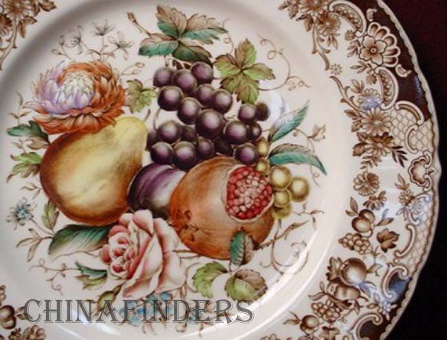johnson brothers china windsor ware harvest fruit pattern turkey platter - Thanksgiving China Patterns