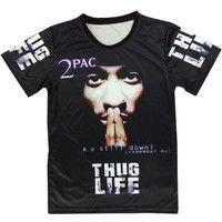 Wish   Fashion Women Men's Short Sleeve Tupac 2pac Emoji 3D Print T shirt Tee