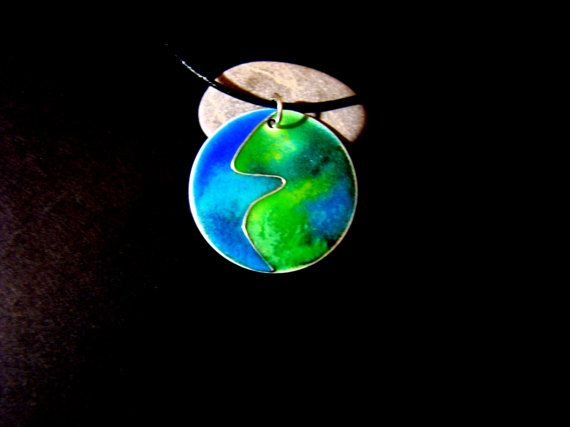 Our beautiful planet  pendant sterling silver enamel by bambusz