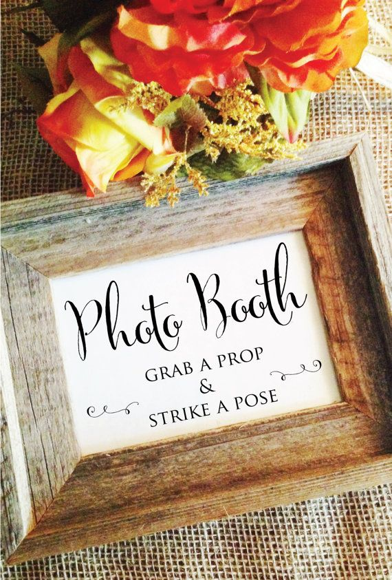 Photo Booth Sign Grab a prop and strike a pose wedding photo booth props signage (Frame NOT included)