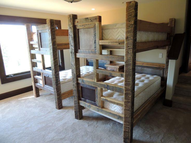 Queen Beds Metal Wood And Metal Bunk Bed Queen Over Queen: 26 Best Barnwood Beds Images On Pinterest