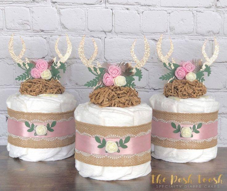 Floral Antler Diaper Cake, Deer Woodland Antler Feather ...