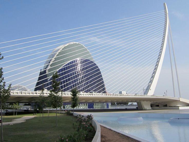 el pont de l'assut de l'or suspended bridge, Calatrava in Valencia, Spain