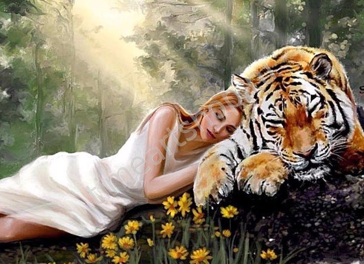 Девушка и тигр, картина раскраска по номерам своими руками ...