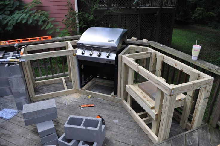 Unique Outdoor Kitchen Wood Frame with Corner Placement Built-in Grill for Wooden Deck Patio Above Ground