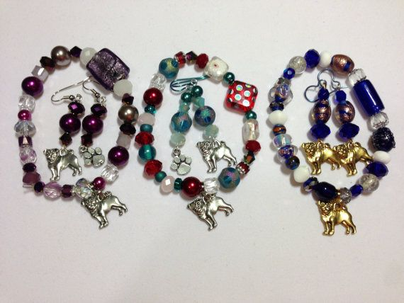 SET- Pug Rescue Bracelet and Pug Rescue Earrings - Made to Order - Supports Pug Rescues on Etsy, $24.00
