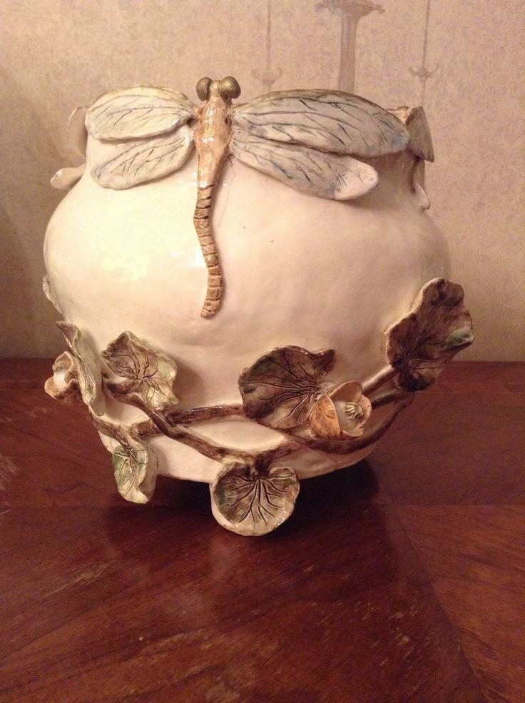 "Ваза ""Стрекозы"", 2012 #artnouveau #dragonfly  #ceramics #IrinaPirogova #prostyeludi."