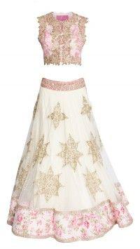 White & Pink Floral Designer Lehenga Choli