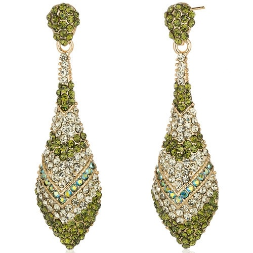 Dazzling Olive Green Iridescent Blue and Mint Green Swarovski Crystal Gold .