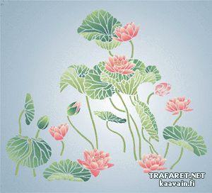 Orientaliska näckrosor • Konstmålnings schablon till dekor, inredning, väggmålning - Orientaliska näckrosor • återanvändbara schablon