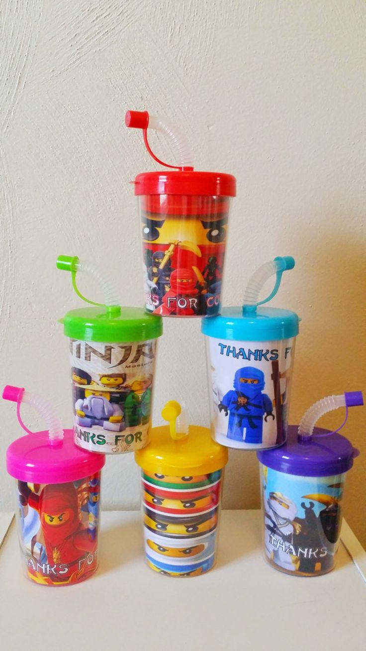 Ninjago Personalized Do It Yourself Party Favor Cups, DIY Ninjago Birthday Party Treat Cups Set of 6, Ninjago Party Favors, BPA Free