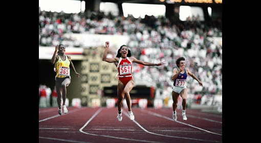 Florence Griffith Joyner at the 1988 Summer Olympics in Seoul, South Korea. (Neil Leifer/Sports Illustrated)