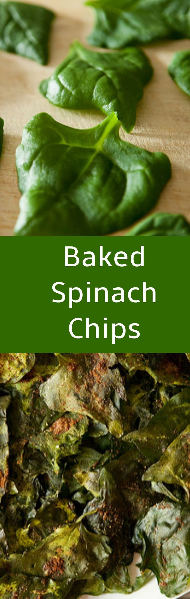Baked Spinach Chips are made with fresh spinach. They're the perfect, salty, healthy snack! Great alternative to potato chips!