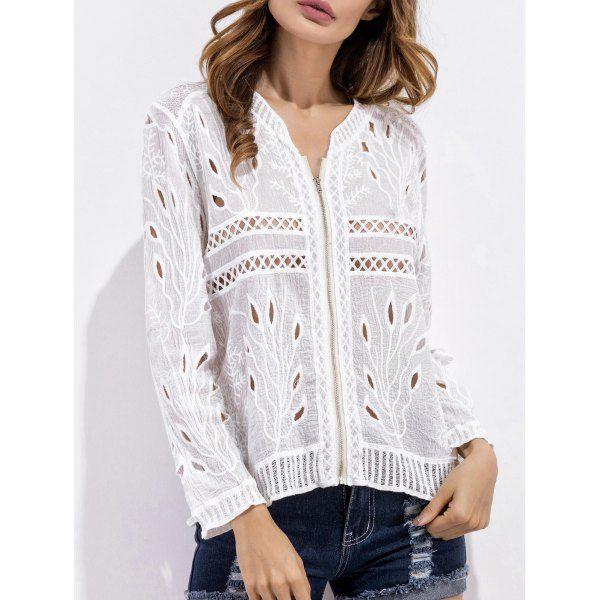 Crochet Embroidered Zip Up Blouse #women, #men, #hats, #watches, #belts