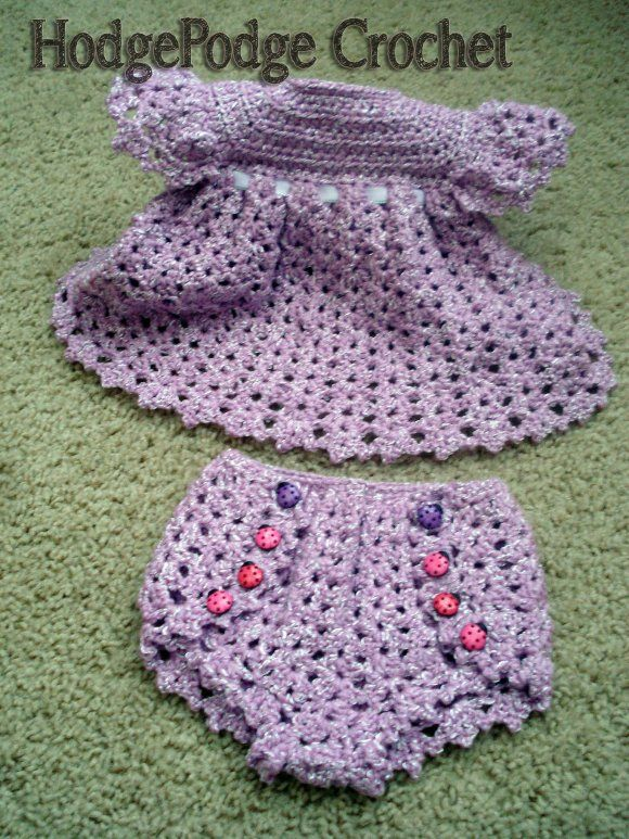 "#crochet diaper cover and dress pattern...."" I am not so sure I would make the dress but that diaper cover? OH MY!"""