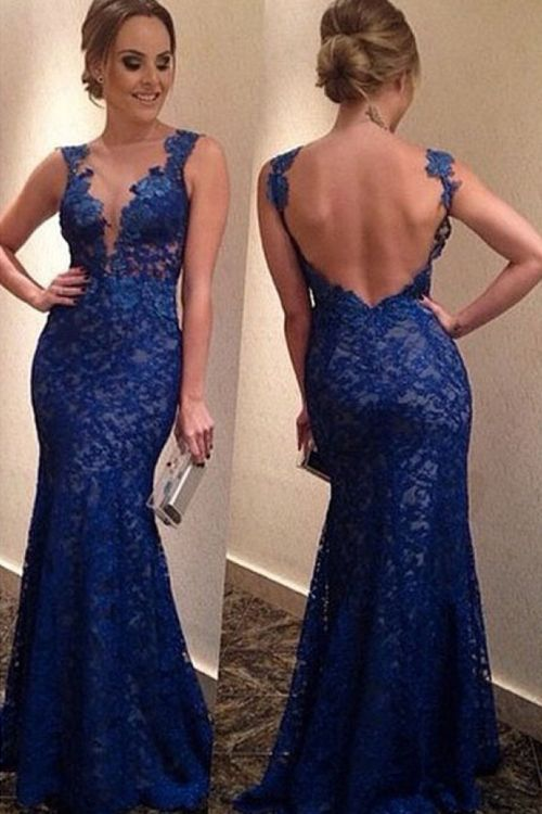 Elegant Mermaid Bateau Tulle Royal Blue Prom Dress With Appliques