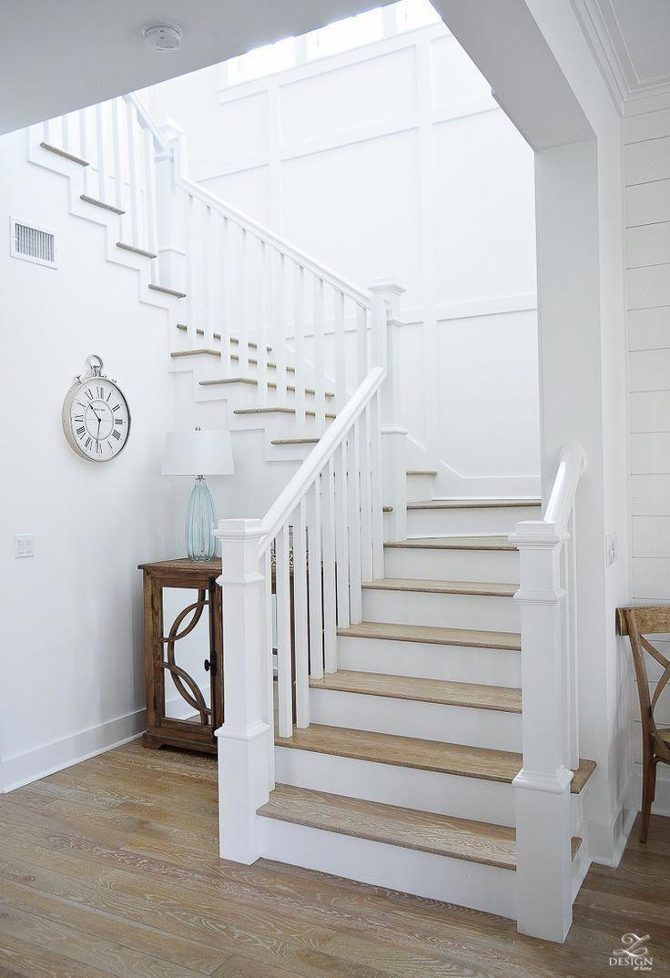 Best White Staircase With Grid Pattern Beach House Decor Beach 400 x 300