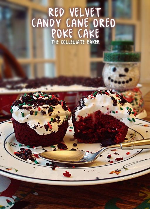 Red Velvet & Candy Cane Oreo Poke Cake & Cupcakes! [The Collegiate Baker]