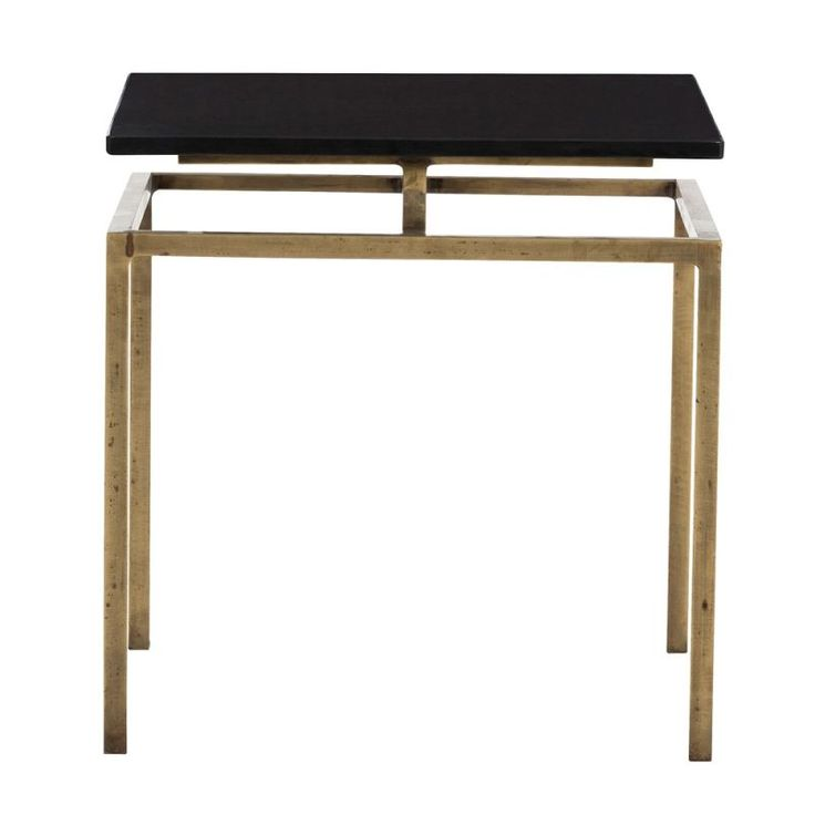 Arteriors 6163.6439 Indigo 18 Inch Wide Marble Top End Table Antique Brass Furniture Tables End Tables