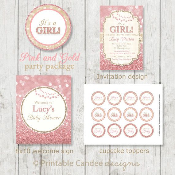 Pink and Gold Baby Shower Package  Glitter Baby by printablecandee