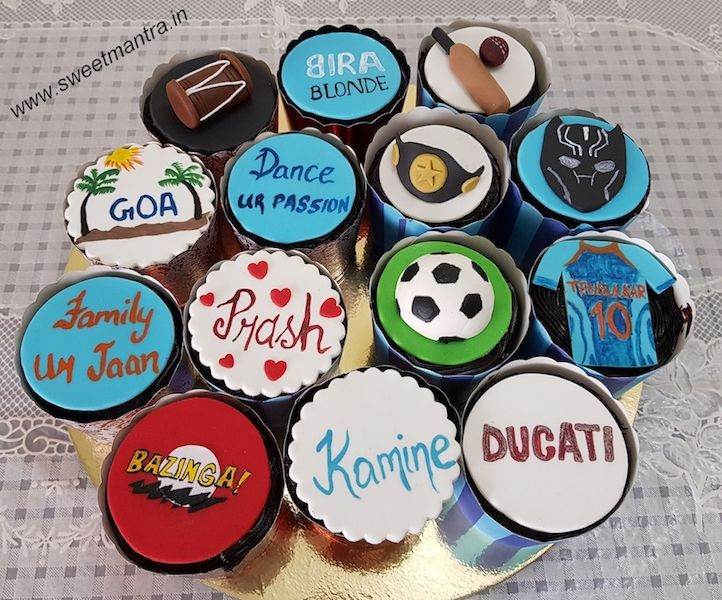 Customized designer fondant cupcakes with husband's favorite things on cupcakes for his birthday at Pune