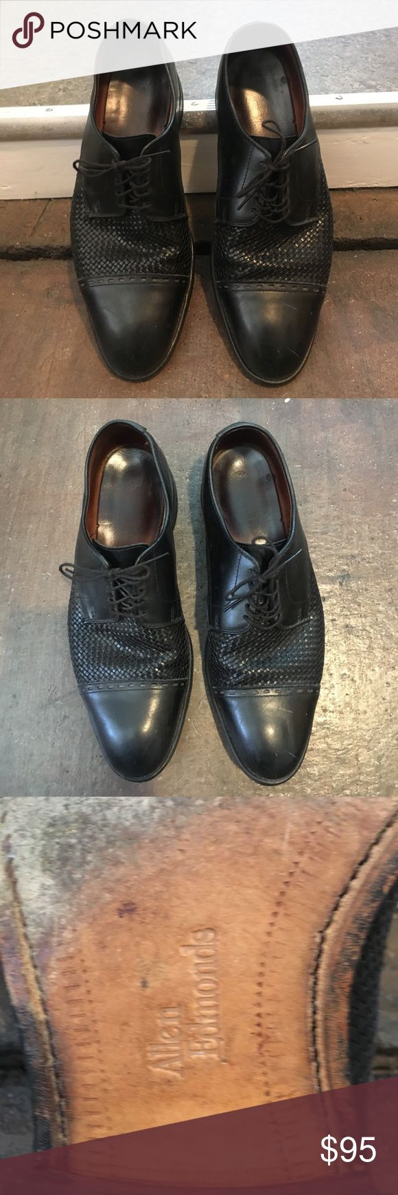 Allen Edmonds Mens Dress Shoe Mens designer dress shoe in black leather woven texture. Slightly worn but in great condition still and recently polished. This is a great steal! Allen Edmonds Shoes Oxfords & Derbys