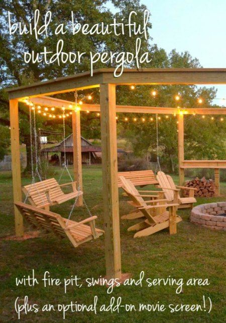 Pergola With Fire Pit And Swings DIY | Do you have a simple fire pit in your backyard and want to make it better?