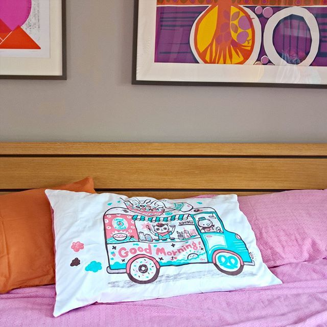 The Lucky Dip Club x ToDryFor tea towel with artwork by Bel's Art World from this months @luckydipclub box turned into a pillowcase!