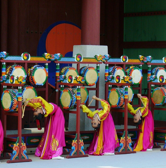 The five drum dance--very acrobatic, Korea