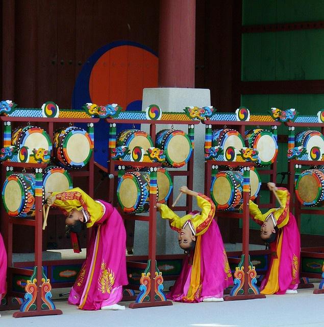 The five drum dance--very acrobatic, Korea