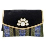 Brocade Fabric Clutch Black Designer Stones Brooch Purse Evening Party Hand Bag