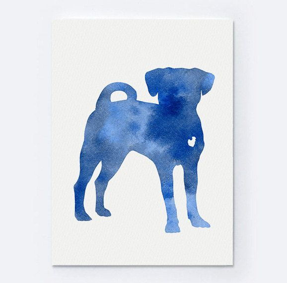 Puggle Painting Personalized Dog Print Dogs Silhouette