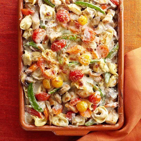 Tortellini and Garden Vegetable Bake: Casseroles Recipes, Fun Recipes, Vegetables Baking, Cherry Tomatoes, Sugar Snap Peas, Gardens Vegetables, Vegetable Bake, Chicken Casseroles, Cherries Tomatoes