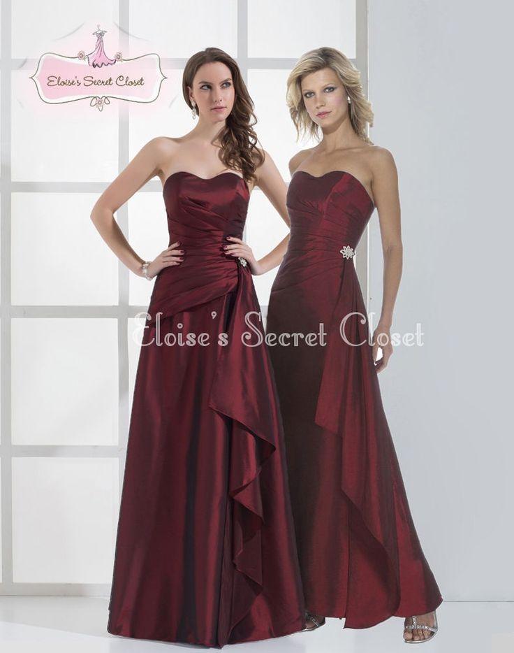 Secret Garden: KIKI Claret Burgundy Satin Tafetta Maxi Prom Bridesmaid