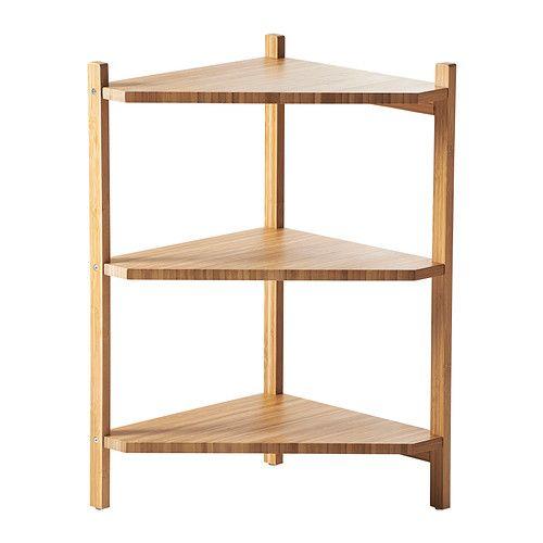 Ragrund, tablette pour rangement sous l'évier. La forme triangulaire accomode le renvoi du lavabo. Chez IKEA.