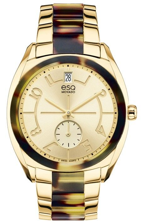 """ESQ Origin - Women's ESQ Origin watch, 36 mm wide tonneau-shaped yellow gold ion-plated stainless steel case with tortoise-toned acetate bezel, and """"e"""" logo crown, round yellow gold-toned dial with matching hands, etched Arabic numerals and small seconds subdial, and date display, yellow gold ion-plated stainless steel and tortoise-toned acetate link bracelet with logo-engraved deployment clasp, Swiss quartz movement, mineral crystal, water resistant to 30 meters."""