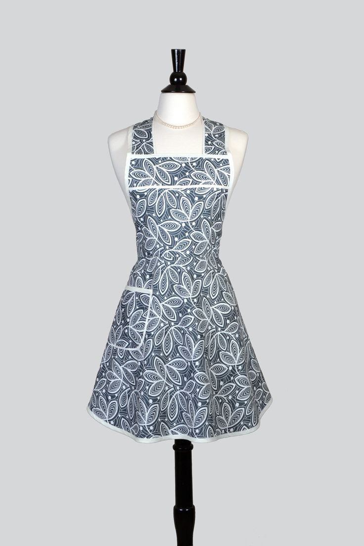 stella pinafore retro apron grey leaves womens cute vintage kitchen 50s style apron with pockets with monogram option dp - Cooking Aprons