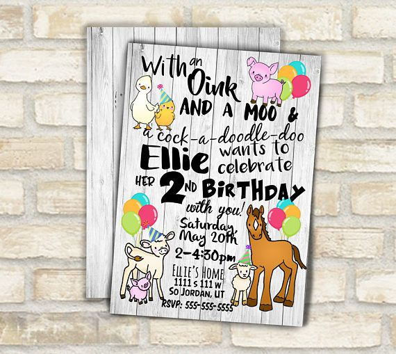Farm animal birthday invitation for barn animal theme kids birthday party , horse pig cow cute farm animal original art