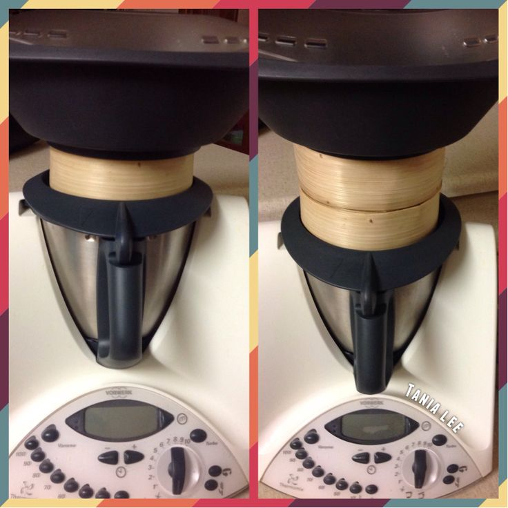 This is how I increase the steaming capacity of my Thermomix. The bamboo steamer basket sits on the inside of the lid lip. Can be used without the varoma as well.