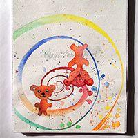 Bolondos macikák füzet - kézzel festve #maci #művészet #festészet #akvarell