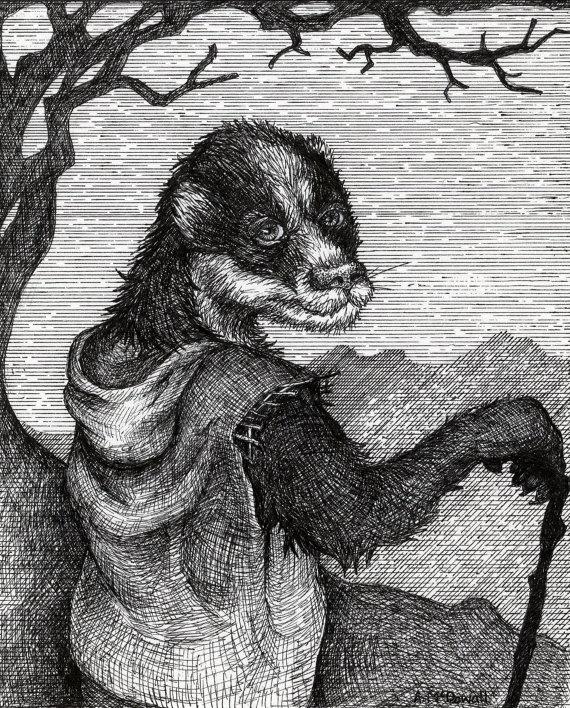 Badger Illustration by BeastsandBirdies on Etsy, £50.00
