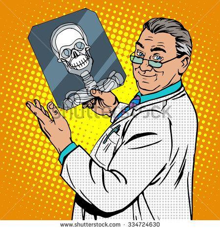 doctor surgeon x-rays skull. Medicine and health pop art retro style