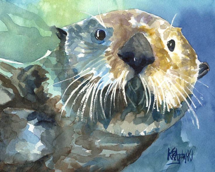 Sea Otter Fine Art Print on 100% Cotton Watercolor Paper. About the Print: This Sea Otter Dog open edition art print is from an original painting by Ron Krajewski. Art print is available in 8x10 or 11x14 inches and is printed on museum quality heavy weight textured fine art paper. Quality fine art prints on quality heavy-weight 100% cotton mould-made paper, designed for fine art photography and printmaking. Print is hand signed by the artist on the front border. About the Artist: Ron...
