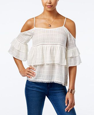 American Rag Ruffled Cold-Shoulder Top, Only at Macy's - Juniors Tops - Macy's