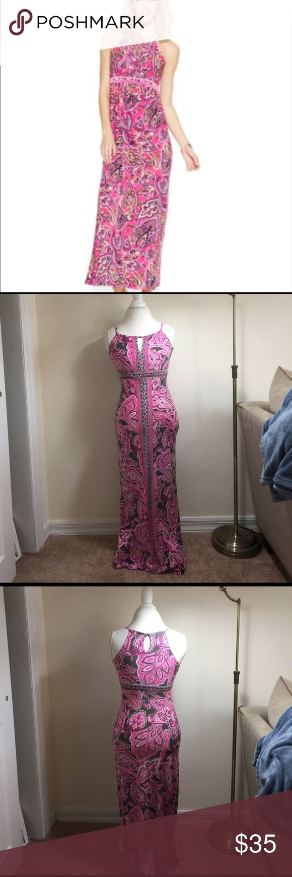 """INC International Concepts Maxi Dress Petite Silky smooth fabric 95% polyester 5% spandex. Paisley print pattern in hot pink, light pink, dark gray, light gray, and white. High neck and buttons at back of neck . No padding in bust . 48"""" shoulder to bottom. 13"""" armpit to armpit. I'm five feet and it doesn't need hemming for me. Size on label is P/P. It fits like an XS Petite. INC International Concepts Dresses Maxi"""
