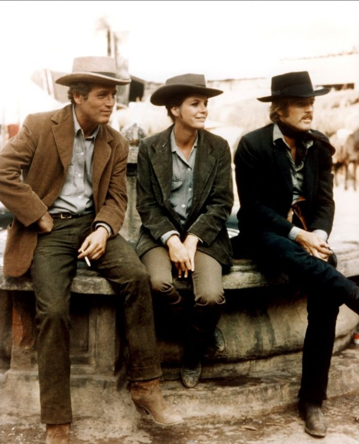 Katharine Ross, Robert Redford and Paul Newman on the set of Butch Cassidy and The Sundance Kid; 1969.
