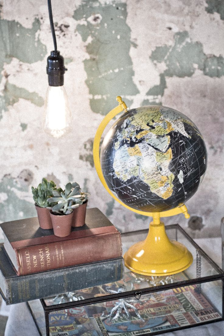 "Black & Yellow 8"" Globe from Earthbound Trading Co.  Would love to paint the stand a different color, but love this."