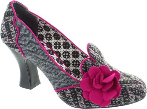 Ruby-Shoo-Lola-Women-039-s-Grey-Boucle-Tweed-Court-Shoes-With-Corsage-Flower-New