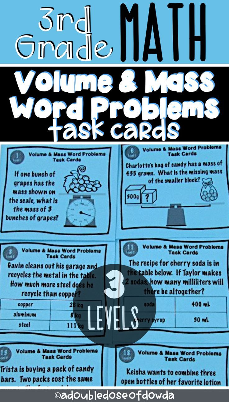 small resolution of Volume \u0026 Mass Word Problems Task Cards Let students practice solving word  problems involving…   Word problems