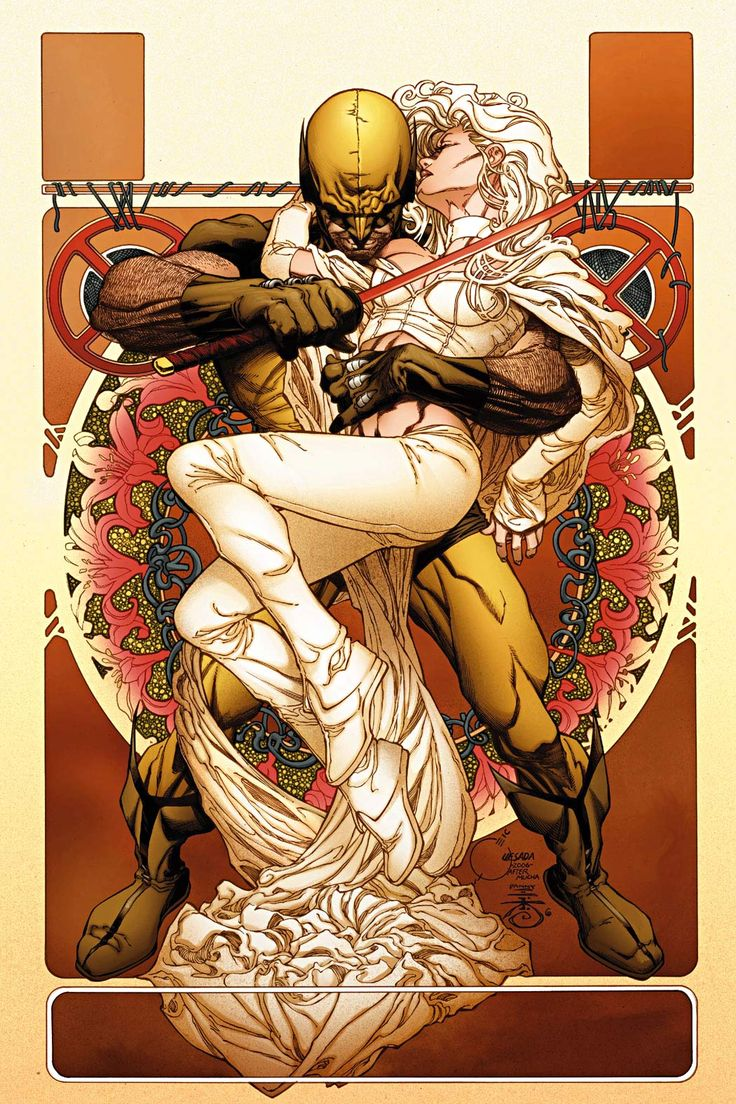 Wolverine and Emma Frost, by Joe Quesada (Alphonse Mucha Art Noveau Influenced)